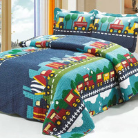Export New Washable Quilted 100% Cotton Bed Cover Set Reactuve Printing Bedding Set Three piece Suit