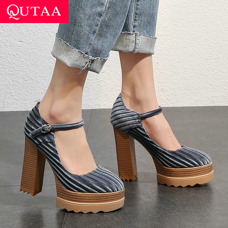 QUTAA 2020 Women Shoes Platform Synthetic Women Pumps Platform Square High Heel Buckle Design All Match  Ladies Pumps Size 34-42