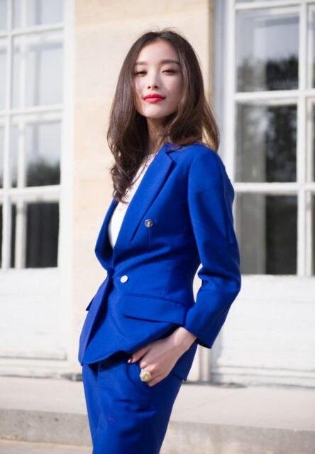 Custom Made Women Ol Suit Royal Blue Women Slim Suit Women Business