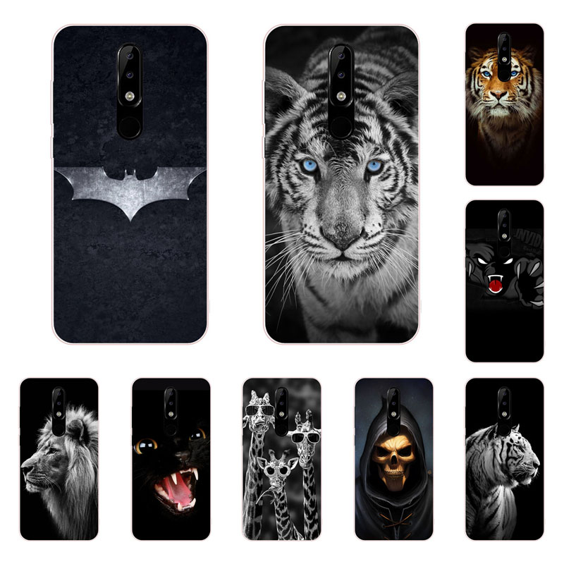 for nokia 7.1 plus case,Silicon Fierce animals Painting Soft TPU Back Cover for nokia 7.1 protect Phone bags