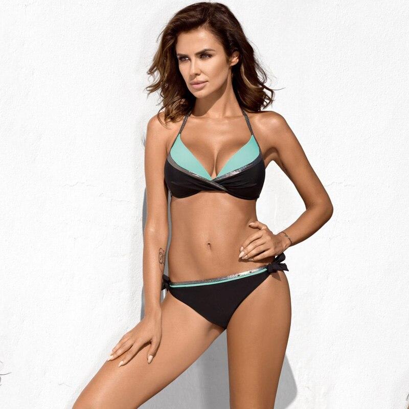HTB1ppQeN9zqK1RjSZPcq6zTepXa2 Bikinis 2019 Plus Size Swimwear Women Sexy Halter String Shiny Bordered Bathing Suit Push Up Swimsuit Lace Up Twist Bikini Set
