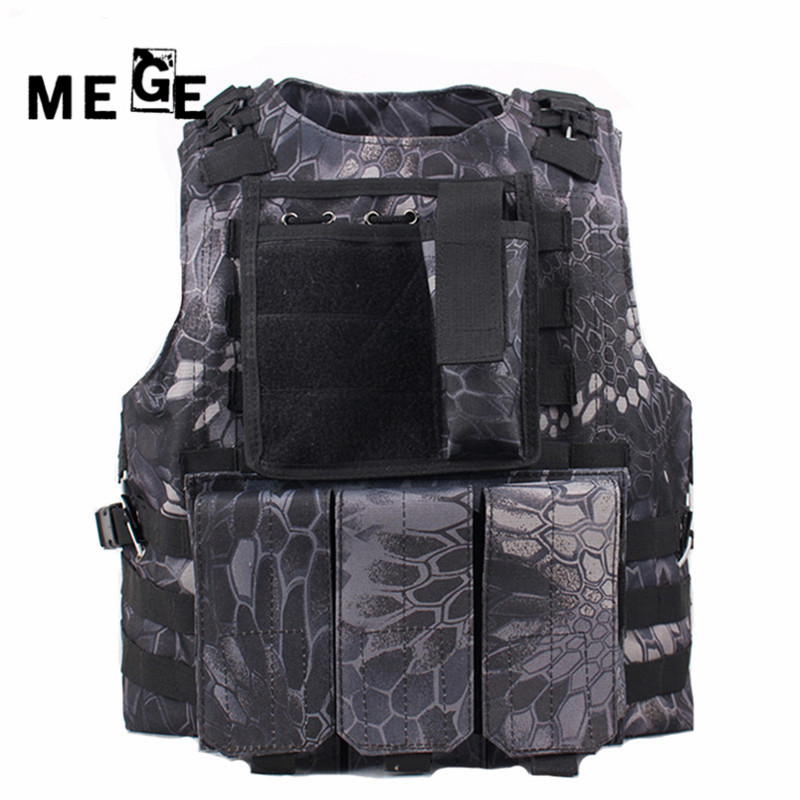 MEGE Camouflage Hunting Military Tactical Vest Wargame Body Molle Armor Hunting Vest SWAT CS Outdoor Equipment with 14 Colors