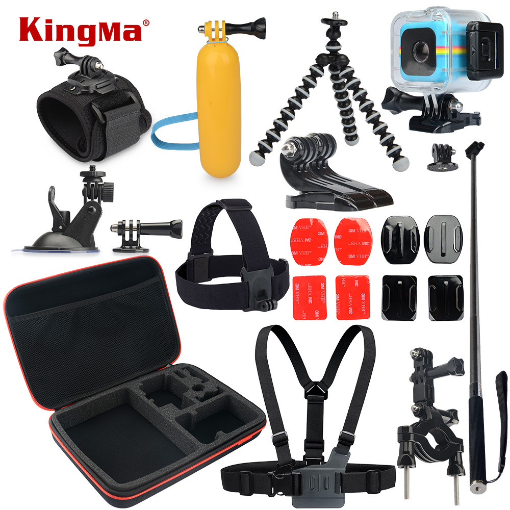 KingMa For Polaroid Cube Waterproof Case 12-in-1 Accessories Kit for Polaroid Cube and Cube+ Accesorios set цена