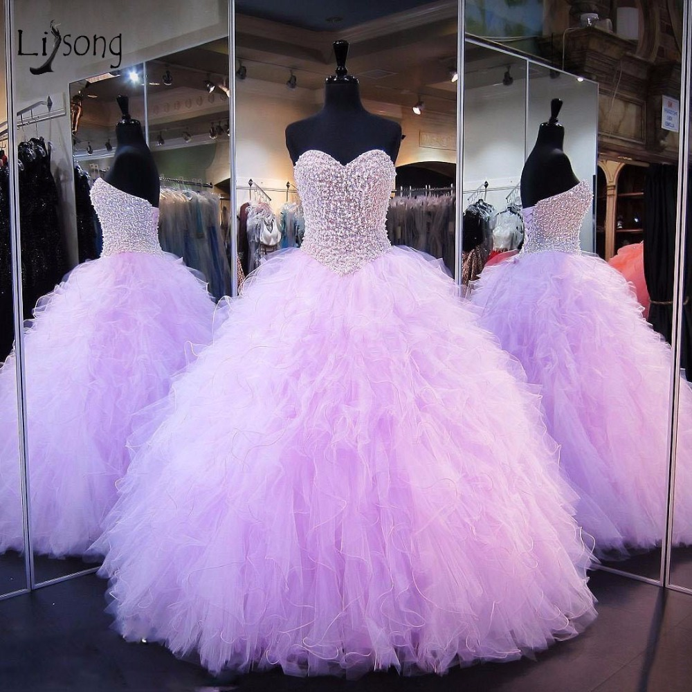Vintage Lavender Pearls Ball Gowns 2018 Tiered Ruffles Long Prom ...