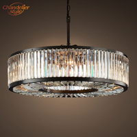 Welles Clear Crystal Round Chandelier Lighting Modern Smoke Cristal Chandelier Lamp Retro Nordic LED Chandelier Hanging Light
