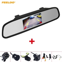 FEELDO 4.3 LCD TFT Rearview Mirror Monitor With Rear View Parking Backup Camera Video System 2.4G Wireless & Cigarette Lighter