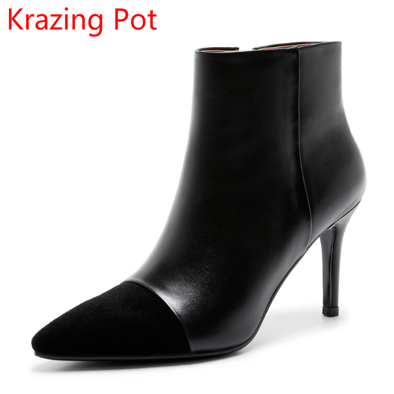2018 Genuine Leather Pointed Toe Fashion Winter Shoes Runway Zipper Concise Superstar High Heel Handmade Women Ankle Boots L83 2018 new arrival fashion winter shoe genuine leather pointed toe high heel handmade party runway zipper women mid calf boots l11