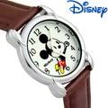 Muchacho de la muchacha de los niños Relojes de cuarzo Disney marcas ratón Mickey niños Muchachos muchachas Cuero Relojes digitales del estudiante de la historieta relogio