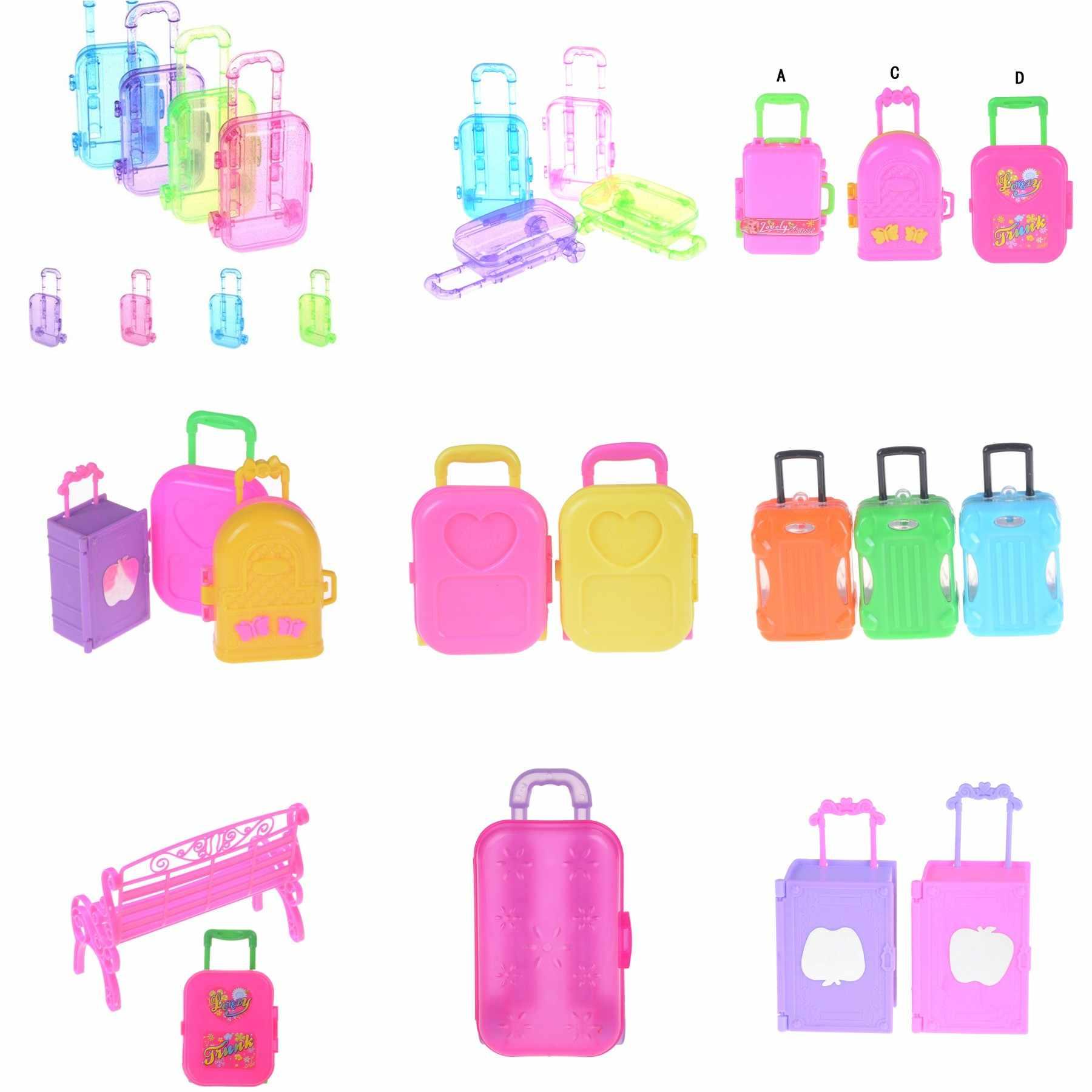 عالية الجودة البلاستيك صندوق أمتعة صغيرة الأسطوانة الاطفال لعبة السفر عربة حقيبة للدمى صندوق تخزين صغير فتاة هدية عيد ميلاد