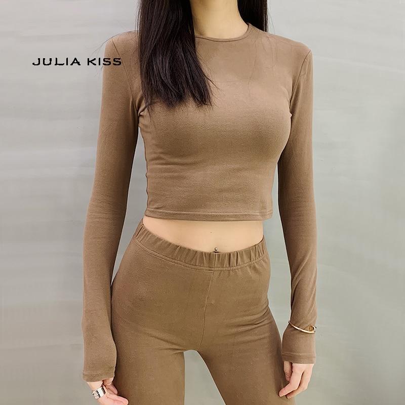 Women Slim Long Sleeve Fit Crop Tee