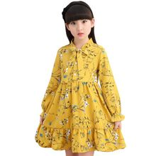4-14 Years Old Girls Dress Floral Pattern Kids Dresses Spring Children Princess Dress Party Teenage Girl Clothes School Costumes стоимость