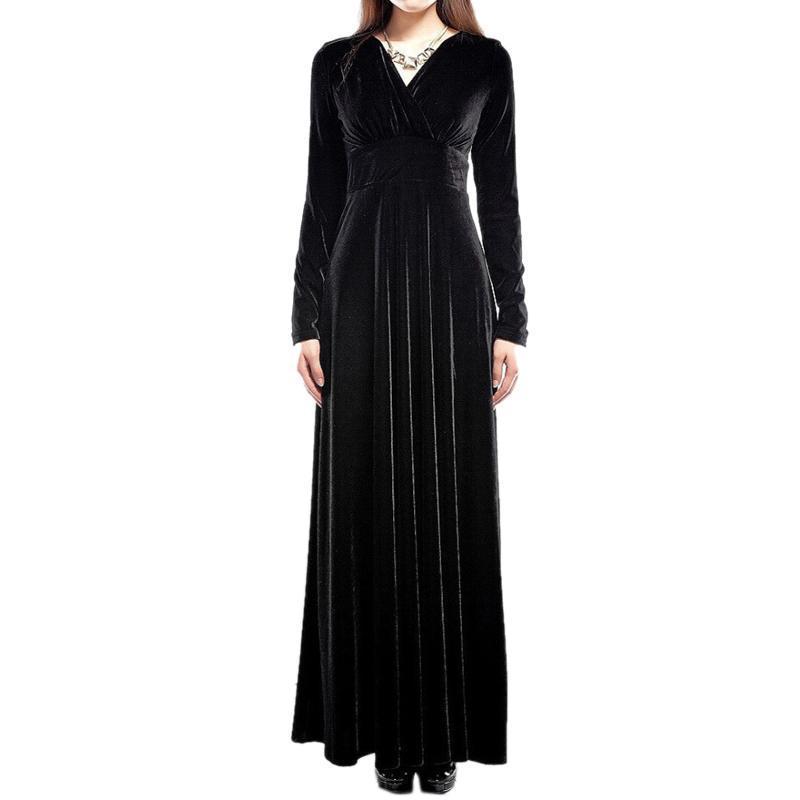Винтаж Для женщин с v-образным вырезом и длинным рукавом бархат коктейльное Вечеринка длинное платье