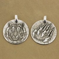 LINSION High Detail 2 Sides Deep Laser Engraved 999 Sterling Silver Tiger King Pendant Sharp Claws