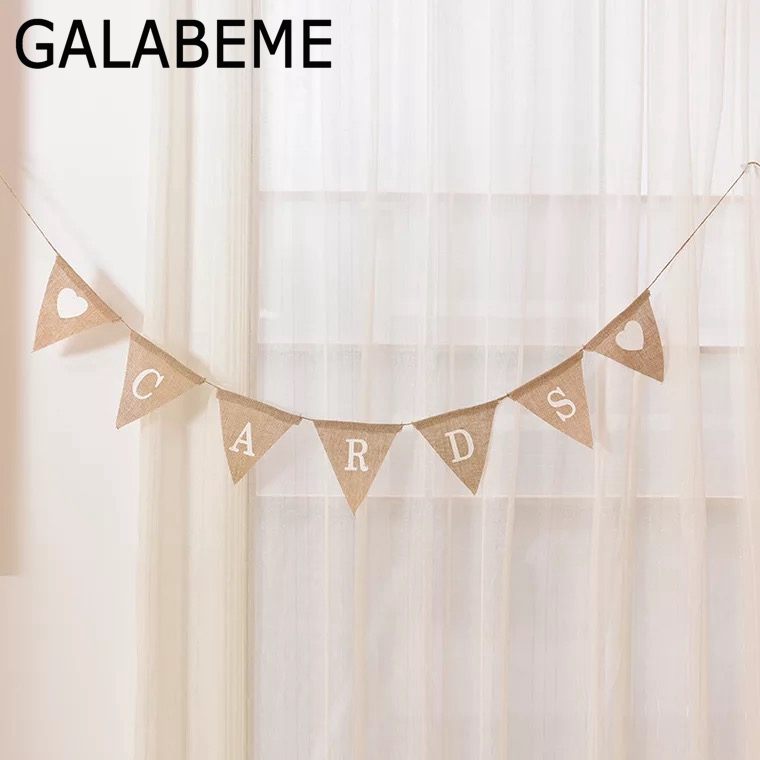 Galabeme 1set=7flags CARDS Love Heart Hessian Burlap Banner Rustic Wedding Bunting Banner Party Favors vintage wedding decor