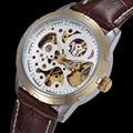 OUYAWEI Luxury Brand Skeleton Mechanical Watch Automatic Self-Wind Mens Watch Leather Casual Wrist Dress Watches Erkek Kol Saati