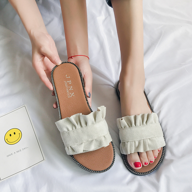 Europe and America flat with flat beaded pearl slippers a character beach vacation open toe sandals and slippers 2018 summer new style shop for cheap price bHcoKiKcs8