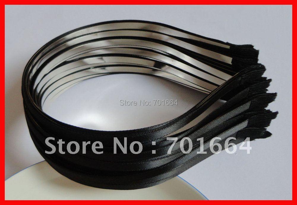 10 шт. 5 мм черная сатиновая лента, один покрытый обычный металл, ободки для волос,, оптом