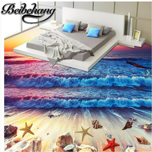 Beibehang Custom Living Room Waterproof Self Adhesive Draw Colorful Waves Beach Water