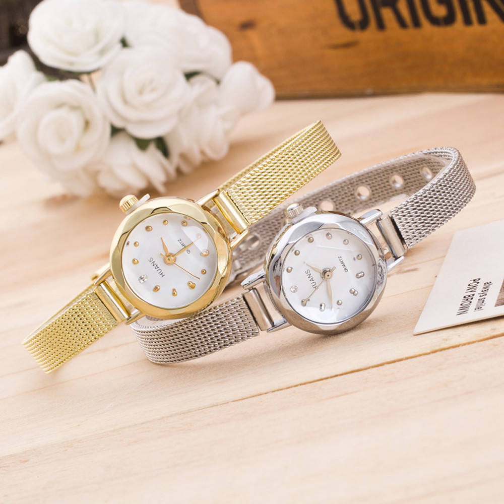 Women Ladies Stainless Steel Mesh Band Wrist Watch Wedding Women Fashion