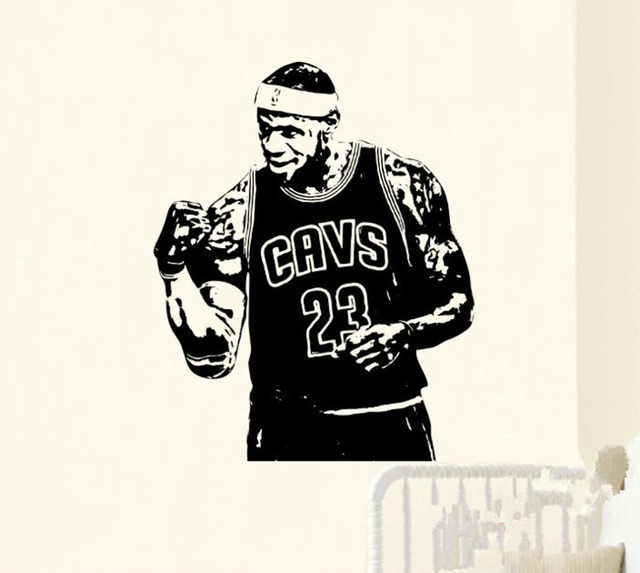 High quality mvp lebron james no 23 cavs basketball wall sticker home decor decal for