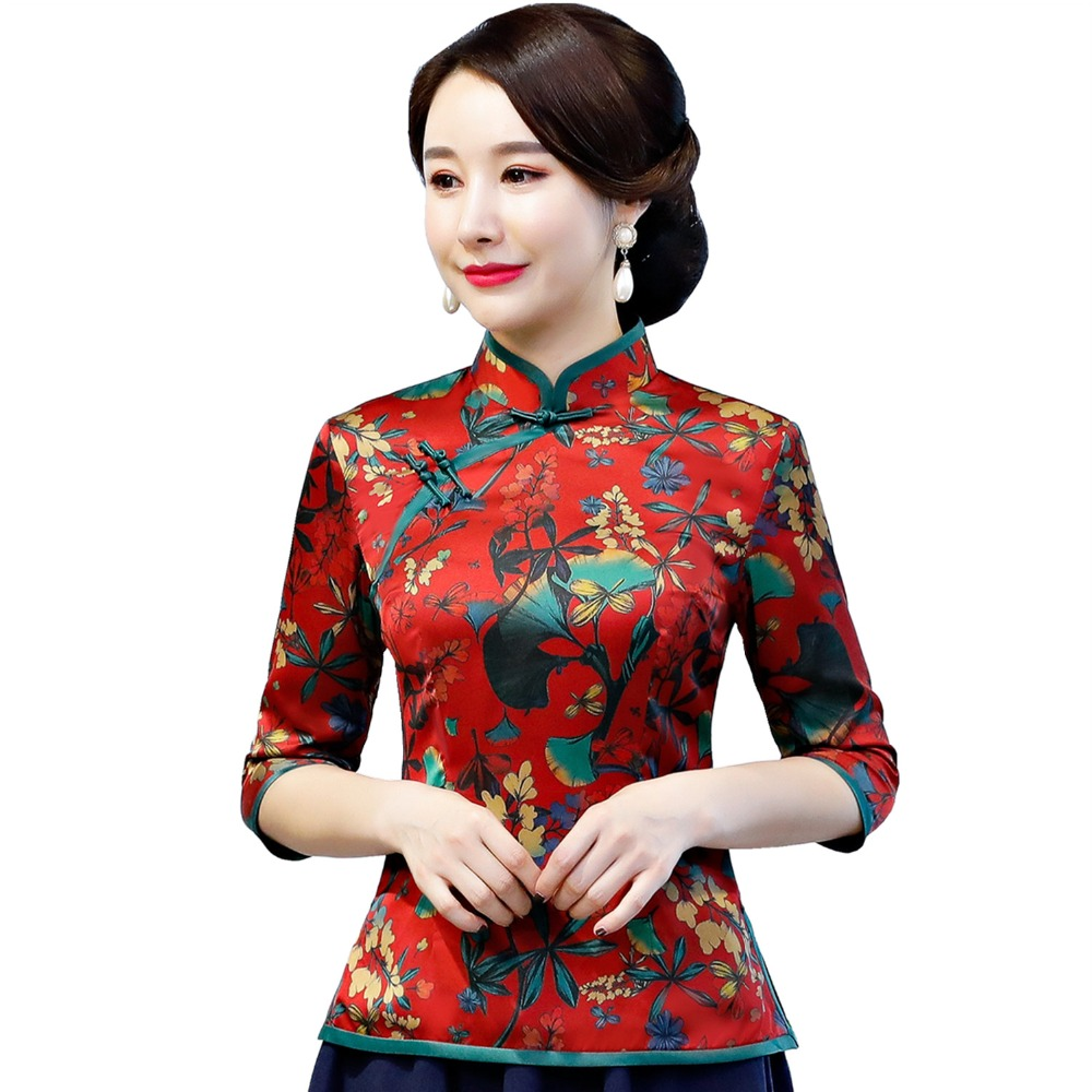 Shanghai Story Chinese Traditional Top Floral Cheongsam Tops Chinese Blouse Qipao Shirt Short Sleeve Chinese Top For Women