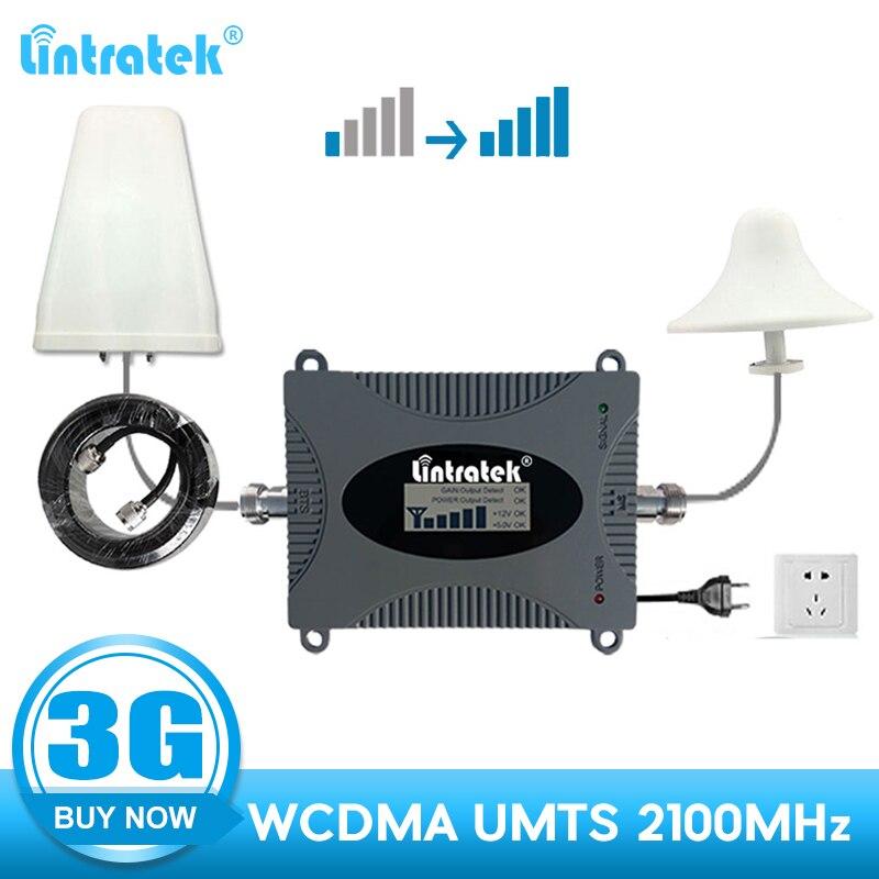 Lintratek 3G répéteur 2100 WCDMA 2100 mhz umts amplificateur de signal cellulaire amplificateur de communication pour téléphone portable kit complet d'antenne