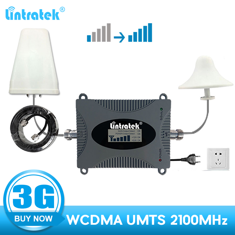 Lintratek 3G Repeater 2100 WCDMA 2100mhz Umts Cellular Signal Booster Mobile Phone Communication Amplifier Antenna Full Kit