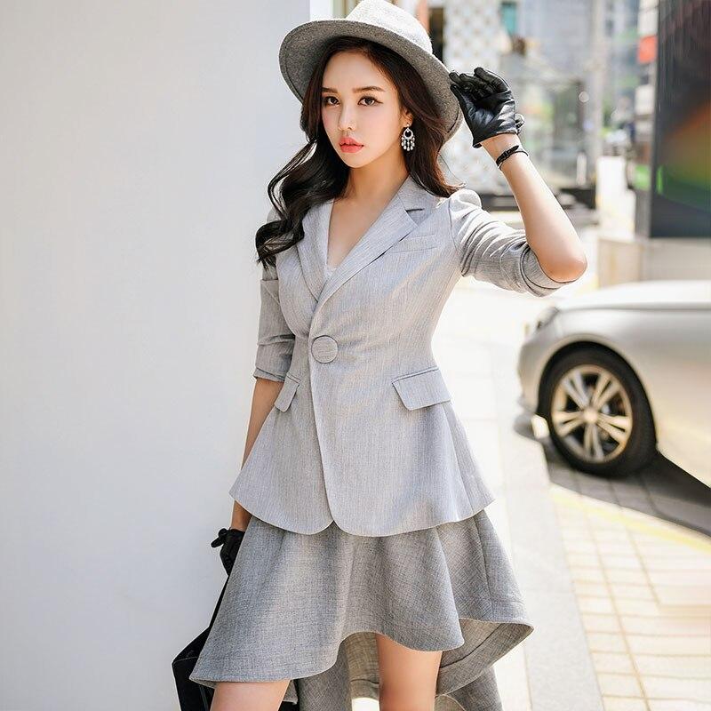 Dabuwawa Spring Grey Office Lady Blazers Women 2019 New 3 4 Sleeve Slim Notched Suits Outwear