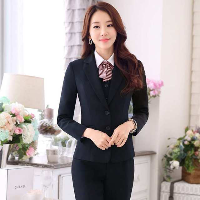 Señoras formales salón de belleza ropa de diseño falsos trajes de oficina uniformes de trabajo traje establece la mujer blazer negro traje vestido 100