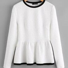 Contraste Encadernação Texturizado Peplum Camisas Das Mulheres Outono de  Manga Longa Branca Tops Da Mulher Queda Elegante Moda P.. 7a73d01707dc