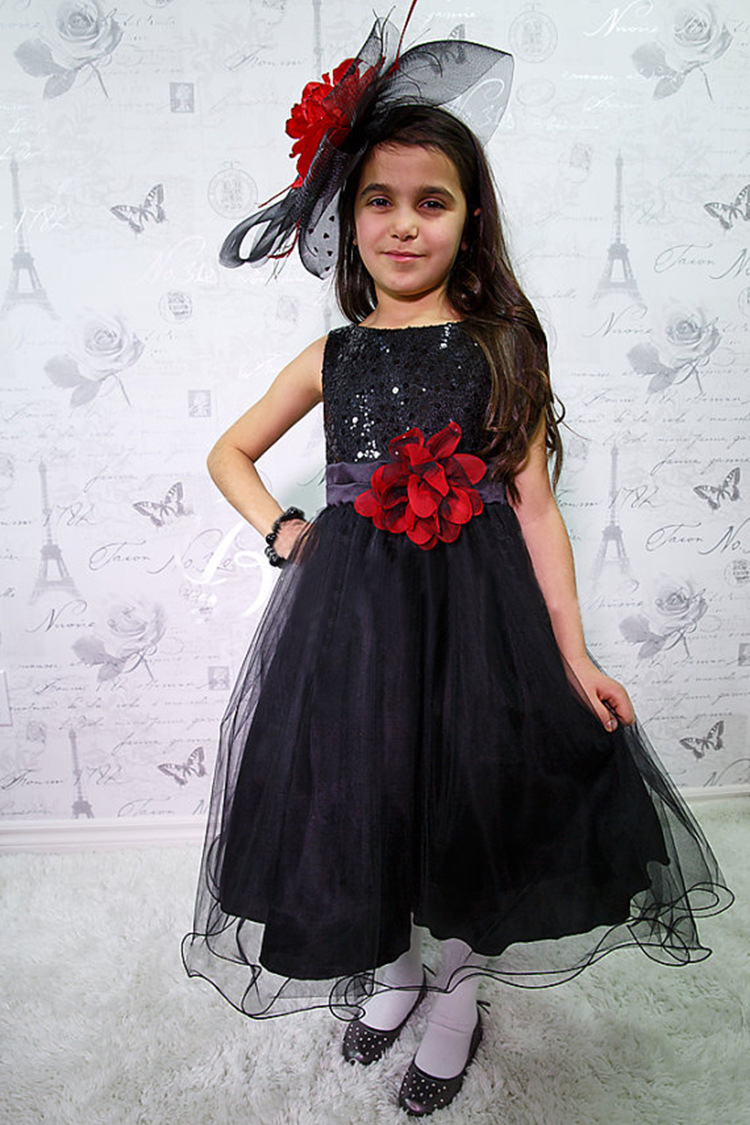 10 color Free shipping Fashion Baby Girls Clothing Sequin sleeveless Cocktail Dresses Bow Formal Dress princess