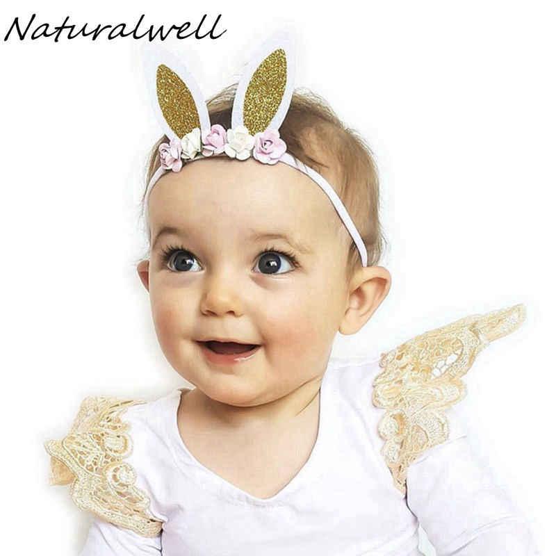 bf24542435d8 Naturalwell Handcrafted Pastel Silver Bunny Ears Baby Headband nylon  Bandage Easter Girl Headband Bunny Ears Accessory