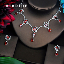 HIBRIDE Red AAA Cubic Zirconia Jewelry Sets For Women Fashion Necklace Set Wedding Dress Accessories Wholesale Price N-447