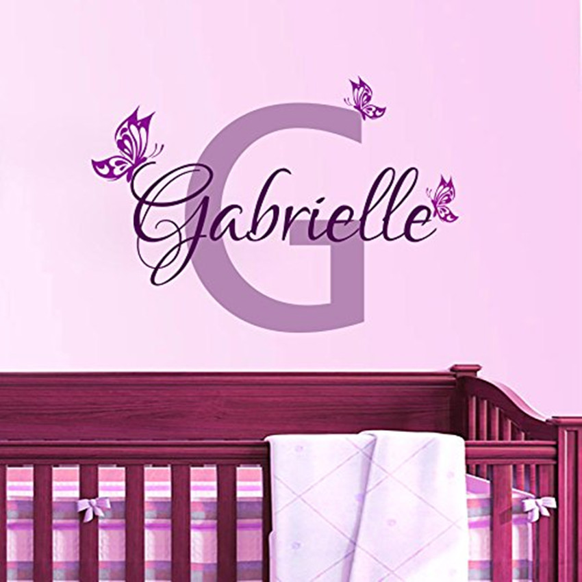 Aliexpress Com Buy Personalized Butterfly Name Vinyl Wall Art Decal Home Decor Wall Sticker For Baby Girls Room Nursery Rom Wall Decor Kw 117 From