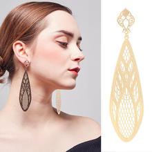 Купить с кэшбэком 2018 New high quality earrings in stud shiny Plating big brass punk long Earrings for woman in danglingearrings party wholesale