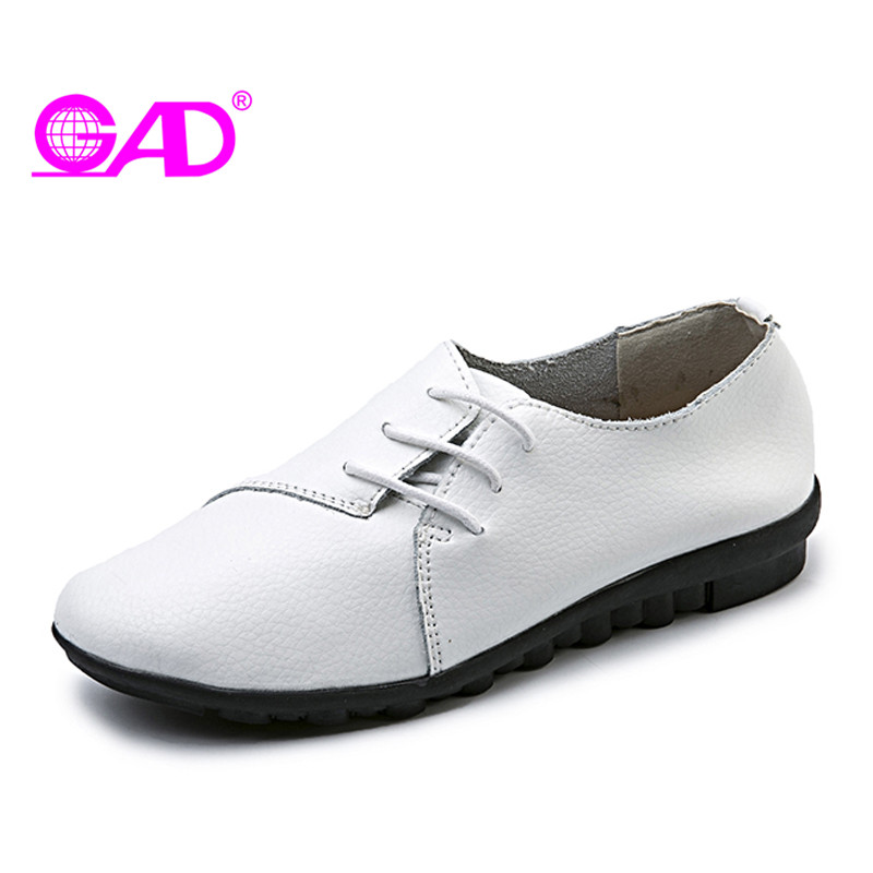 GAD Women Casual Shoes Spring/Autumn British Style Lace-up Women Leather Shoes Fashion Casual Round Toe Comfort Flat Shoes Women xiaying smile woman pumps shoes women spring autumn wedges heels british style classics round toe lace up thick sole women shoes