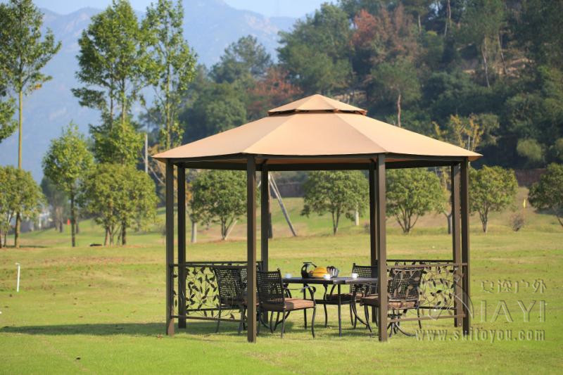 Dia 4 meter 8 edge shape garden patio gazebo tent aluminum for Outdoor furniture gazebo