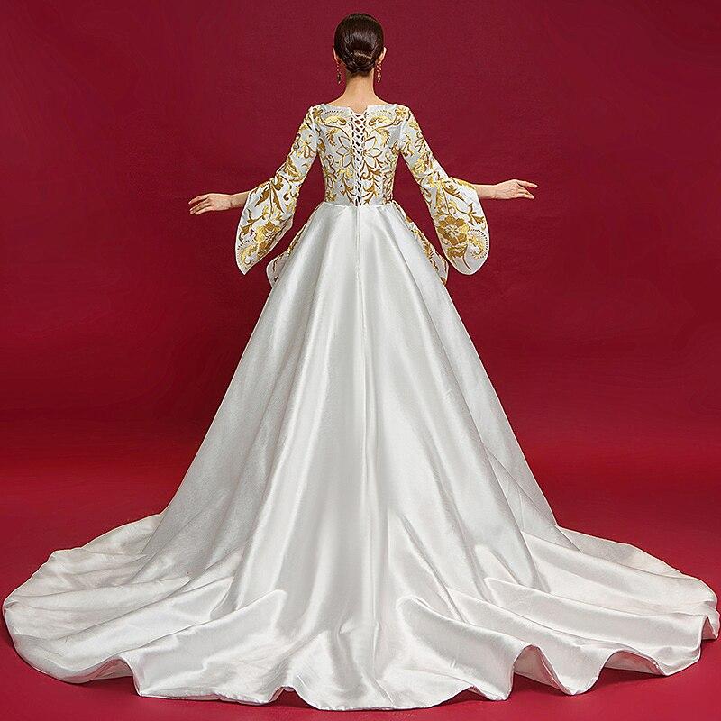 Dubaï luxe Satin robe de soirée 2019 or soie broderie fête Occasion formelle longue robes de grande taille de bal Abiye Abendkleider - 5