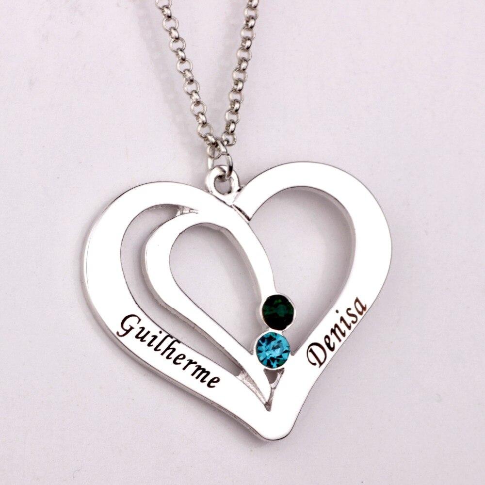 Gravierte Paare Halskette mit Birthstones 2018 Neue Ankunft Lange Birthstone Halsketten Nach Maß Irgendeine Name YP2492