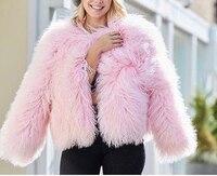 lady real mongolia sheep fur coat jacket long fur fashion free shipping furry fluffy plus size