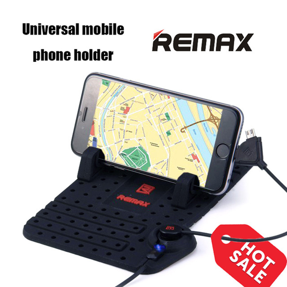 Remax Soft Silicone Mobile Phone Holder Car Dashboard Gps Anti Slip Bricket Lnb Kuband Universal With 2 In 1 Magnetic Usb Cable Rotating