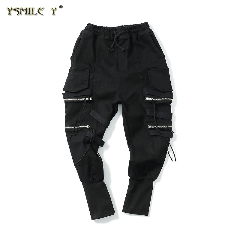 Street fashion Men and women Same style Trousers Rib bottom Casual Cargo Pants Hip-hop baggy Harem pants Sweatpants Black M-2XL