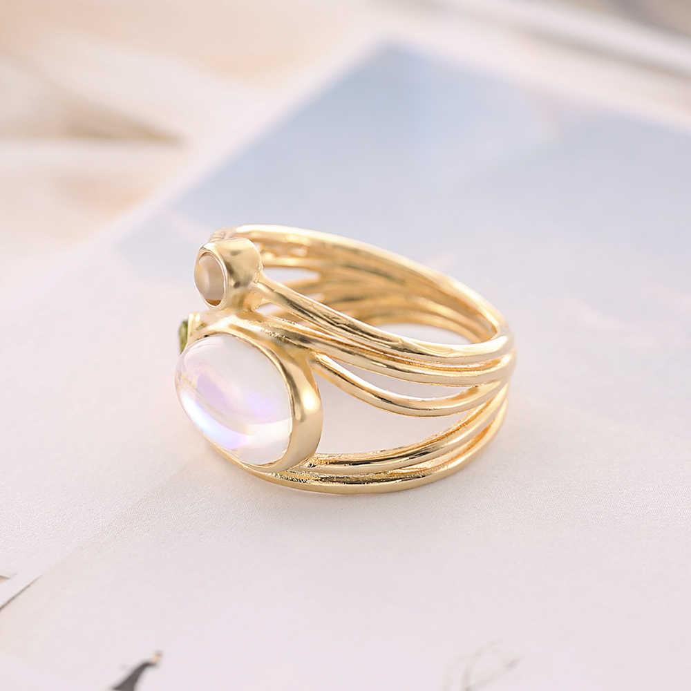 CANNER moda única piedra lunar oro Aqua azul anillo de concha joyería de boda mujeres regalos al por mayor R4