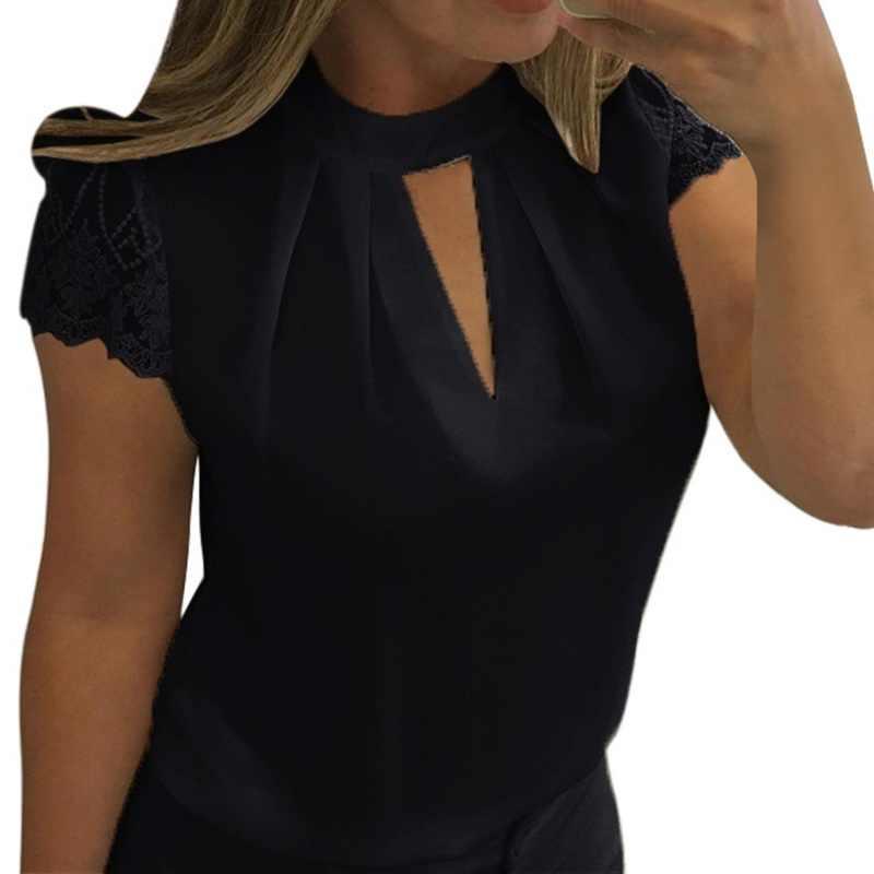 Laamei 2019 セクシーなレースのブラウス女性中空アウトトップスファム固体カジュアルオフィスシャツプラスサイズ Blusas V ネックストリート tシャツ