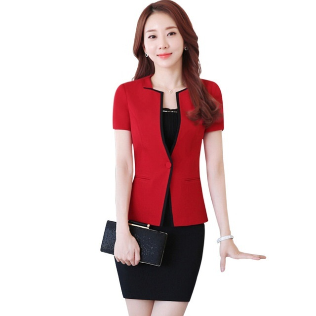 Summer Slim Work Wear Women Skirt Suit Formal Ladies Office Wear
