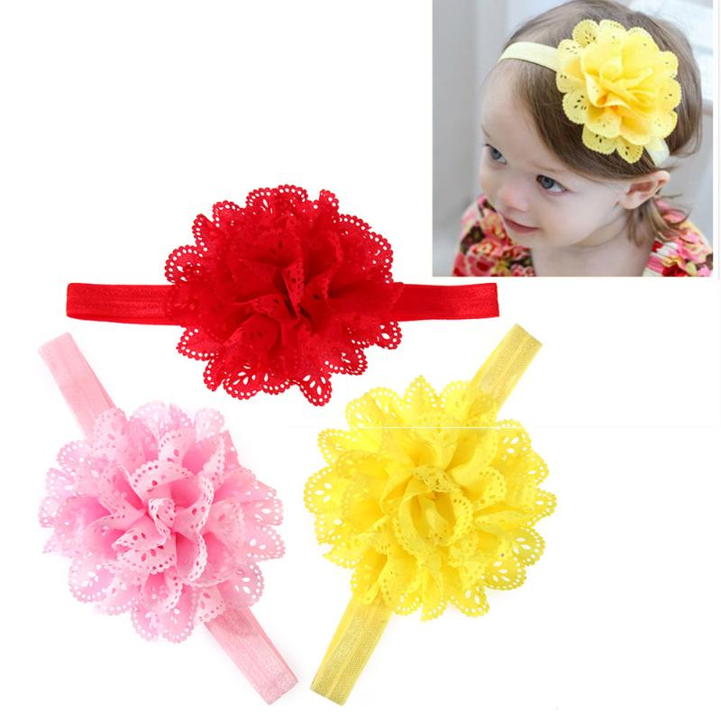 3Pcs/Lot Flower Design Baby Girl Headband Kids Head Bband Mesh Elastic Hairband Kids Lovely Sweet Hair Accessories