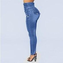 ae4704099 Das mulheres da forma calças de brim Das Mulheres de Outono Elástico  ButtoPlus Buraco Solto Jeans Casual Pés Pequenos Cropped .