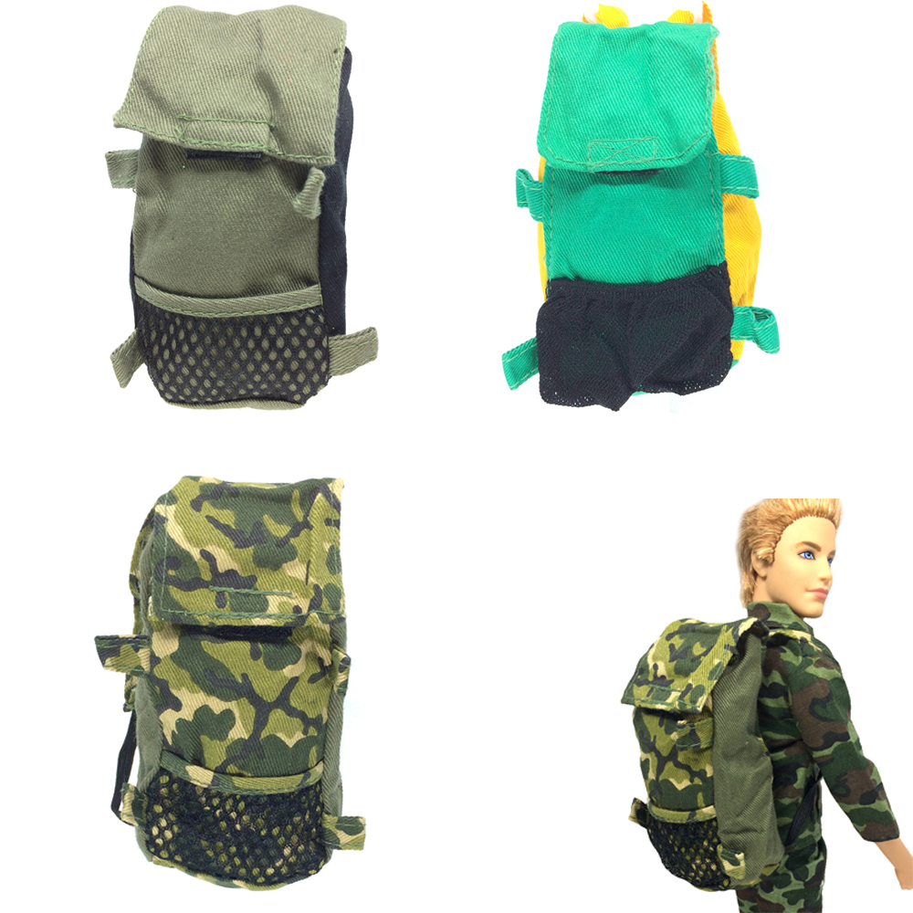 все цены на NK 3 Pcs/Lot  Doll  Army Knapsack Marines Combat Accessories Bag For Barbie Boy Male Ken Doll For Lanard 1/6 Soldier Best Gift онлайн