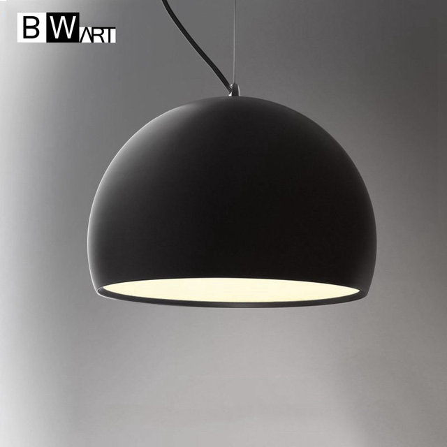 Bwart Haging Pendant Lights Hemisphere Lamp Black White Shade For Modern Bar Restaurant Bedroom