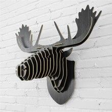 Pared ciervos, Alces elk cabeza, decoración de Navidad, DIY 3D creativo artesanías de madera, Islandia Nórdico colgante animales arte de la pared, tablero MDF ornamento